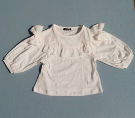 パターンメッシュのリボンxフリルTシャツ/Caldia