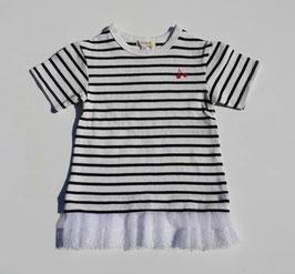 裾チュール付ボーダーの半袖Tシャツ/Seraph