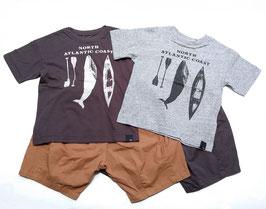 クジラとカヌーの半袖Tシャツ/F.O.U