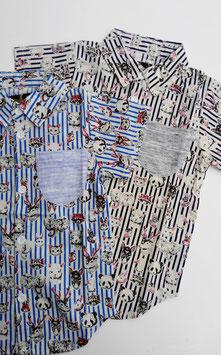 アニマルxストライプの襟付き半袖シャツ/Barock