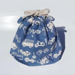 シリーズ24のコップ袋(単色車柄)-紺地