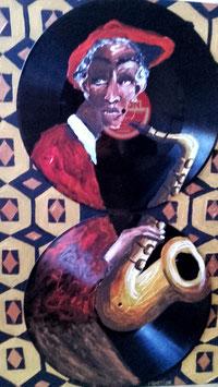 Saxophoniste aux vinyles