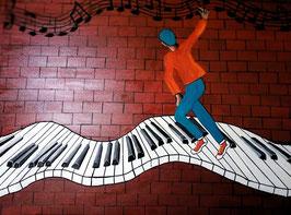 Homme sur clavier de piano