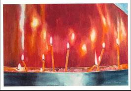 Kunst-Doppelkarten mit hochwertigem Briefumschlag im Cellophantütchen. Motiv: Flammende Gebete