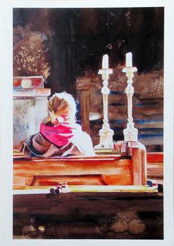Kunst-Doppelkarten mit hochwertigem Briefumschlag im Cellophantütchen. Motiv: An diesem heiligen Ort spür ich dich...