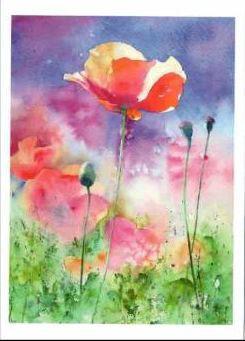 Kunst-Doppelkarten mit hochwertigem Briefumschlag im Cellophantütchen. Motiv: Sommerfreuden