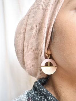 """""""Dusty Rose and Marble Cream Dangles"""" by Statemode"""