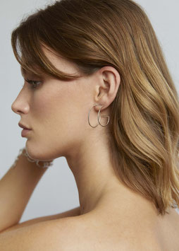 """""""Silver Statement Curved Rectangle Hoops"""" by Wild Fawn"""