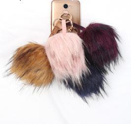 Grande boule de poils girly douceur fourrure Iphone Porte clé-4 coloris