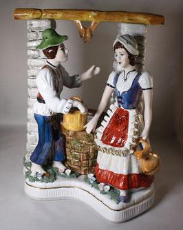 Porzellan Figur - Frau und Mann am Brunnen