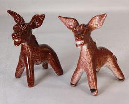 2 Stück Keramik Esel - Vintage - aus Ischia Italien