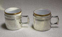 2 Stück Mokkatassen mit Porzellaneinsatz