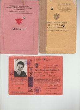 Identitätsausweis, Schwerkriegsbeschädigtenausweis und vom Bundesverband, 1944,45, 1946,1949