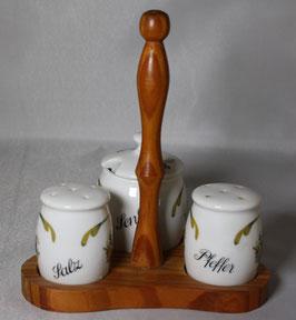 Porzellan Salz, Pfeffer und Senftopf von Gerold