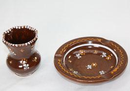 Vase und Aschenbecher, braun Streublume