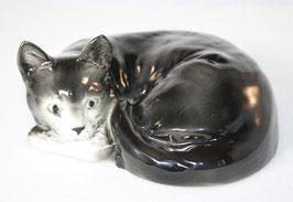 Porzellan Katze schwarz von Wagner & Apel