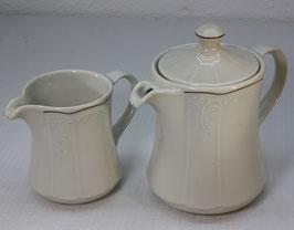 Porzellan Kanne und Milchkanne, beige, Model Bellevue von Lilienporzellan