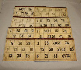 8 antike / alte Bingo Karten/ Lotto/ Tombola, damals selbst gebastelt