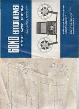 Gebrauchsanweisung, Anleitung für Goko Editor Viewer Model A-200, Super-8