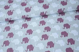Baumwolljersey Elephant Parade, hellgrau