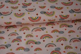 Baumwolljersey Rainbow & Hearts, rosa