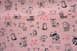 Baumwolljersey Forest Animals, rosa meliert