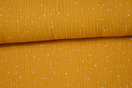 Musselin Speckles gelb-weiß