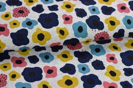 Kuschel Sweatshirt / Alpenfleece Blumen blau