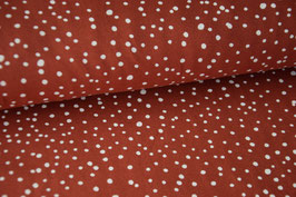 Baumwolljersey Punkte smokey red