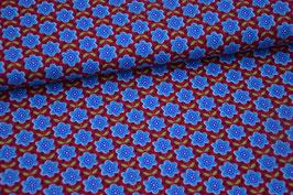 Baumwolljersey Blumen blau