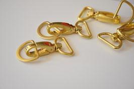 Taschenkarabiner, 25mm, gold, inkl. D-Ring