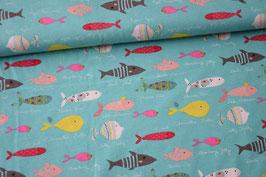Baumwolljersey bunte Fische
