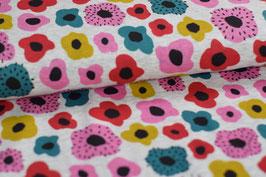 Kuschel Sweatshirt / Alpenfleece Blumen rosa, Rest 1,1m