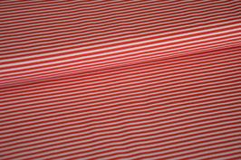 Baumwolljersey Streifen rot/weiß klein