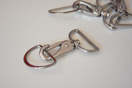 Taschenkarabiner, 40mm, silber, inkl. D-Ring