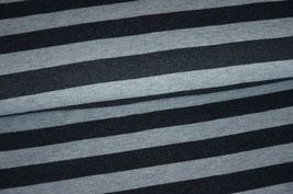 Feinripp Strick Jersey gestreift dunkelgrau/hellgrau