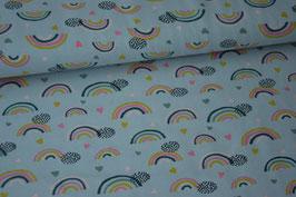 Baumwolljersey Rainbow & Hearts, hellblau