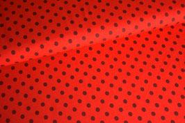 Jersey Punkte braun auf rot