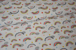 Baumwolljersey Rainbow & Hearts, weiß