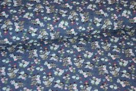 Baumwolljersey Herbstblumen dunkelblau