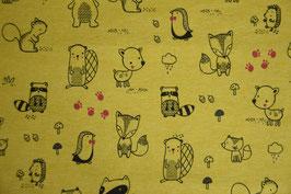 Baumwolljersey Forest Animals, gelb meliert