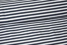 Baumwolljersey Streifen dunkelblau/weiß groß