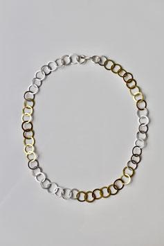 Ösenkette geschmiedet aus Silber und 750 Gold