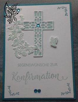 Karte zur Konfirmation mit Kreuz und Blätterranke