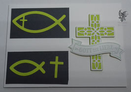 Karte zur Kommunion/Konfirmation mit Fisch und Kreuz