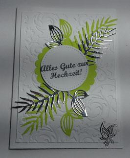 Glückwunschkarte zur Hochzeit Limone-Silber