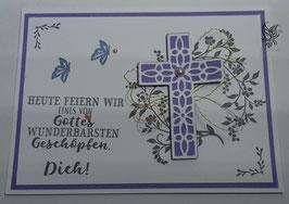 Karte zur Kommunion/Konfirmation Weiß-Flieder