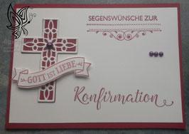 Karte zur Konfirmation mit Kreuz und Banner