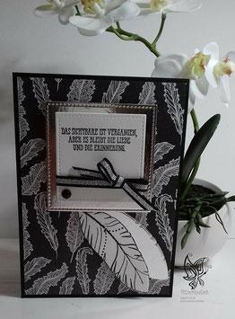 Trauerkarte Schwarz-Silber