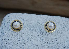 Perlen-Saphir-Ohrringe